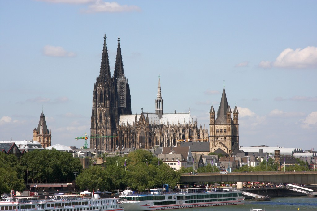 Cologne Cathedral (middle) and Great St. Martin Church right-hand in Cologne, Germany